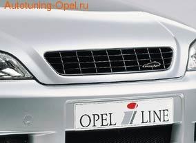 Решетка радиатора Opel Astra G в черном исполнении