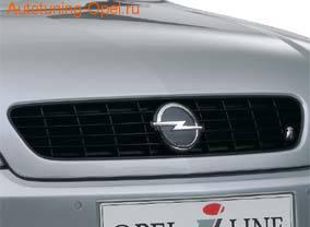 Решетка радиатора Opel Vectra C (дорестайлинг) черная iLine