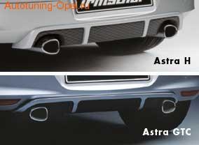 Глушитель Opel Astra H на две стороны с двумя насадками к двигателям Z14XEL, Z14XEP, Z16XE1, Z16XEP, Z16XER, Z18XER и Z18XE