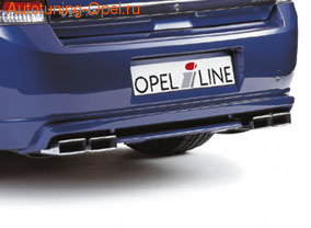 Глушитель Opel Vectra C на две стороны с четырьмя насадками к двигателям Z16XE, Z16XE, Z18XER, Z18XEL, Z18XE, Z22YH и Z22SE