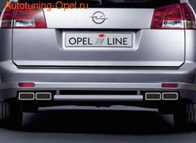 Глушитель Opel Vectra C на две стороны с четырьмя насадками к двигателям Z20NET, Z22YH, Z32SE, Z30DT и Y30DT