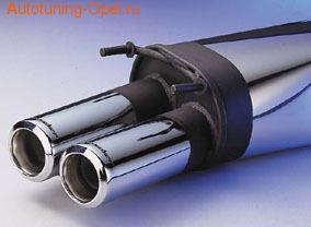Глушитель со сдвоенной насадкой с выжженой лазером надписью Irmscher для Opel Astra G (1,4 л - 2,0 л)