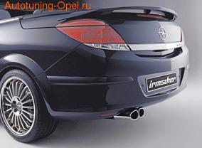 Глушитель Opel Astra H слева со сдвоенной насадкой к двигателям Z14XEL, Z14XEP, Z16XE1, Z16XEP, Z16XER, Z18XE и Z18XER