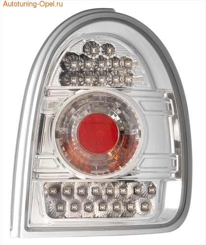 Фонари задние Opel Corsa B хромированные прозрачные LED (светодиодные)