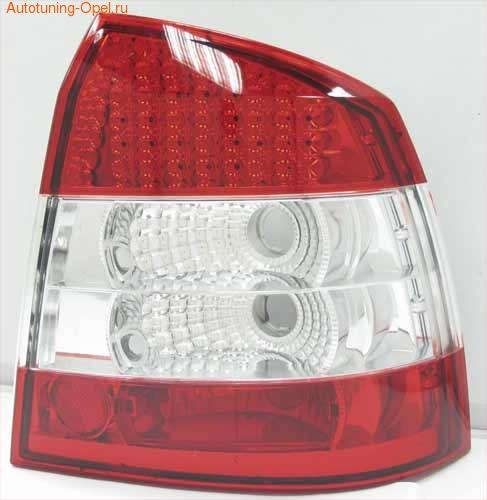 Фонари задние Opel Astra G Седан красные прозрачные LED (светодиодные)