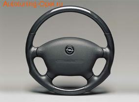 Руль для Opel Vectra B в стиле Carbon-Look с черными кожаными вставками