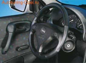 Руль для Opel Corsa B, Opel Tigra в стиле Carbon-Look с черными кожаными вставками