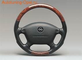 Руль для Opel Vectra B под дерево с черными кожаными вставками