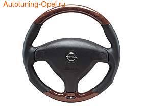 Руль для Opel Astra G, Opel Zafira A под дерево с кожаными вставками