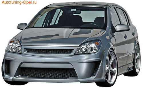 Бампер передний Opel Astra H Хэтчбек, GTC в стиле Viruss