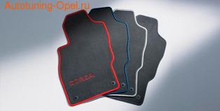Коврики в салон Opel Corsa D велюровые темно-серого цвета с красной отстрочкой
