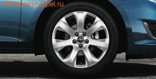 Диски литые R16 легкосплавные серебристые дизайн 7 лучей для Opel Astra J c бензиновыми двигателями 1,4 л, 1,4T л и 1,6 л, дизельными двигателями 1,3 л