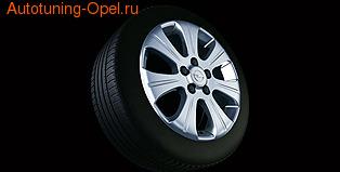 Диски литые R17 легкосплавные дизайн 7 лучей с покрытием Silver для Opel Zafira B