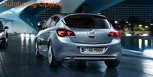 Накладка на бампер задний Opel Astra J Хэтчбек (дорестайлинг) пакет OPC Line I с вырезом в бампере под глушитель