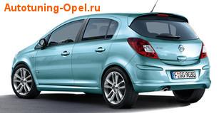Обвес на Opel Corsa D 3-дверная (рестайлинг) от компании Opel в стиле OPC Line I с вырезом в бампере под глушитель