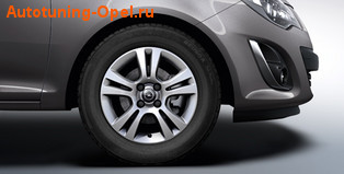 Диски литые R15 легкосплавные серебристые дизайн 5 двойных лучей для Opel Corsa D