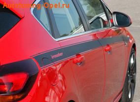Полоса дизайнерская Irmscher для автомобилей Opel Astra J Хэтчбек черного цвета