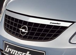 Решетка радиатора Opel Corsa D (дорестайлинг) с планкой в дизайне Alu-Optik