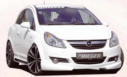 Обвес на Opel Corsa D со штатным глушителем от компании Rieger с шелкографией под карбон