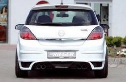Накладка на бампер задний Opel Corsa D с вырезом слева под одинарный выхлоп в стиле Carbon-Look