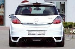 Накладка на бампер задний Opel Astra H Хэтчбек с вырезом слева и справа в стиле Carbon-Look