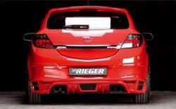 Накладка на бампер задний Opel Astra H GTC с вырезом слева под одинарный выхлоп в стиле Carbon-Look