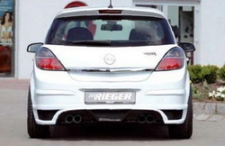 Накладка на бампер задний Opel Astra H Хэтчбек с вырезом слева под сдвоенный выхлоп в стиле Carbon-Look