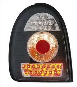 Фонари задние Opel Corsa B черные прозрачные LED (светодиодные)