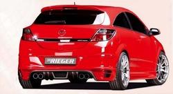 Обвес на Opel Astra H GTC с глушителем с выхлопом на две стороны от компании Rieger с шелкографией под карбон