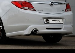 Накладка на бампер задний Opel Insignia Хэтчбек, Седан, Sports Tourer (дорестайлинг) в стиле Kampala с вырезом под глушитель слева