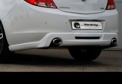 Накладка на бампер задний Opel Insignia Хэтчбек, Седан, Sports Tourer (дорестайлинг) в стиле Kampala с вырезом под глушитель слева и справа