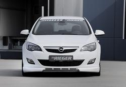 Обвес на Opel Astra J 5-ти дверная от компании Rieger для машин с глушителем слева и справа с шелкографией под карбон