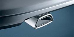 Глушитель Opel Astra H слева с одной насадкой в стиле OPC Line к мотору 2,0 л Turbo