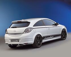 Обвес на Opel Astra H GTC от компании Irmscher с глушителем на две стороны и комплектом дисков R18 в стиле Sport Star-Design ``Black Attack``