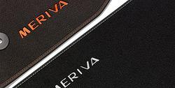 Коврики в салон Opel Meriva B велюровые черные с серебристой отстрочкой