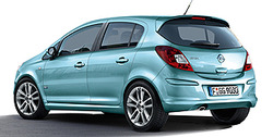 Обвес на Opel Corsa D 5-дверная (дорестайлинг) от компании Opel в стиле OPC Line I с вырезом в бампере под глушитель