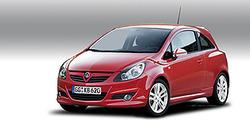 Обвес на Opel Corsa D D 3-дверная (дорестайлинг) от компании Opel в стиле OPC Line I с вырезом в бампере под глушитель
