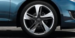 Диски литые R19 легкосплавные серебристые дизайн 5 двойных лучей для Opel Astra J c бензиновыми двигателями 1,4 л, 1,4T л и 1,6 л, дизельными двигателями 1,3 л