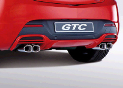 Накладка на бампер задний Opel Astra J GTC с вырезом слева и справа для автомобилей с системой парктроник