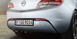 Накладка на бампер задний Opel Astra J GTC в стиле OPC Line с вырезом в бампере под глушитель