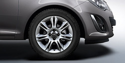 Диски литые R16 легкосплавные серебристые дизайн 7 двойных лучей для Opel Corsa D 5х110