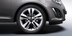 Диски литые R17 легкосплавные серебристые дизайн 5 двойных лучей для Opel Corsa D 4х100