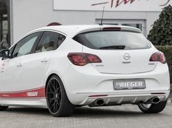 Накладка на бампер задний Opel Astra J Хэтчбек (рестайлинг) с вырезом слева под одинарный спортивный выхлоп