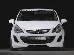 Накладка на бампер передний Opel Corsa D (рестайлинг) с дополнительными вырезами по центру