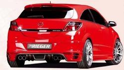 Накладка на бампер задний Opel Astra H GTC с вырезом слева и справа в стиле Carbon-Look