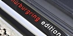 """Накладки на пороги Opel Astra H в стиле Carbon-Optik с надписью """"Nurburgring Edition"""""""