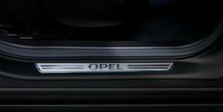 Накладки на пороги Opel Astra J Хэтчбек, Седан, Sports Tourer, Opel Meriva B, Opel Zafira Tourer в стиле OPC Line передние
